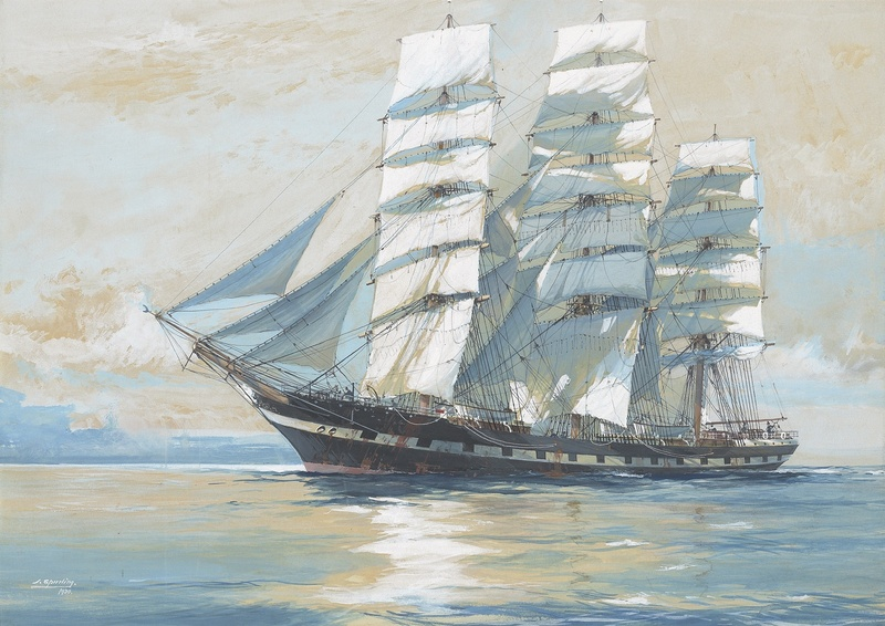 Clipper ship Euphrosyne, 1905 tons. Built by Robert Duncan, 1885, for C.S. Caird