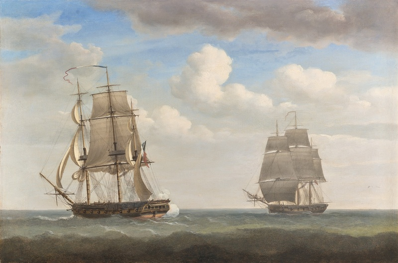 Captain Jeremiah Coghlan's ship the 'Renard' engaging the French privateer the 'General Ernouf' off Haiti, 1805; The destruction of the 'General Ernouf' by the 'Renard'