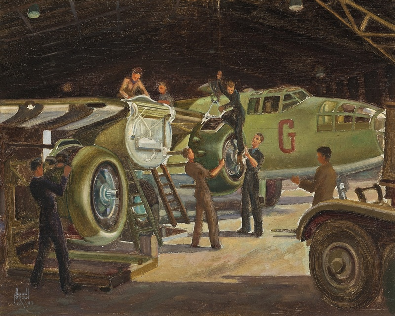 Mechanics working on a Douglas Boston bomber in a hangar